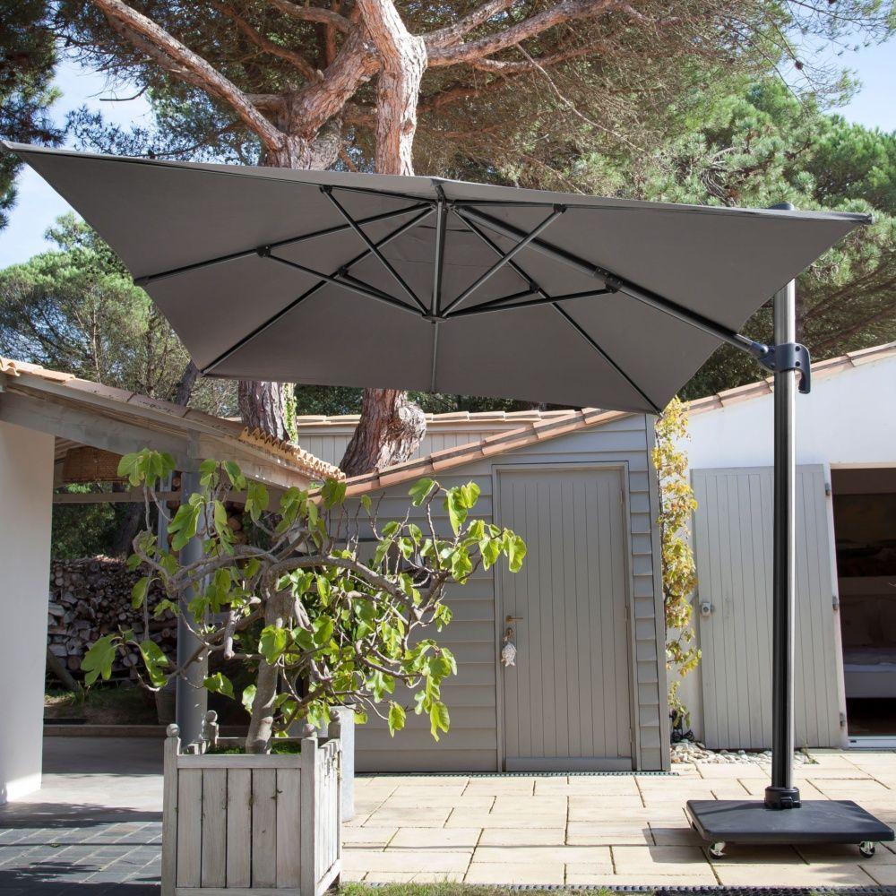 Parasol déporté inclinable aluminum 3x4 m gris Carton   Gamm Vert