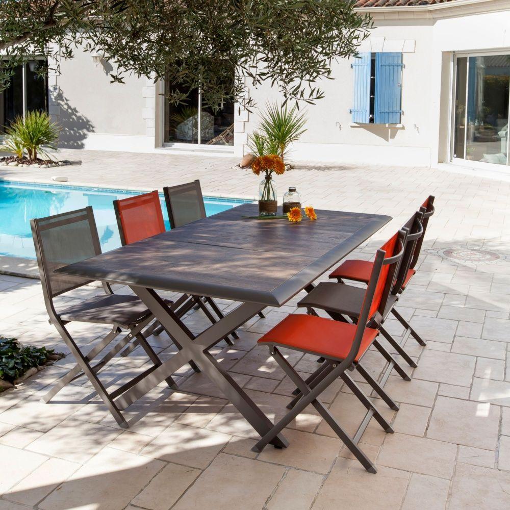 table de jardin ceram aluminium plateau c ramique caf carton 203 x 108 x 11 cm gamm vert
