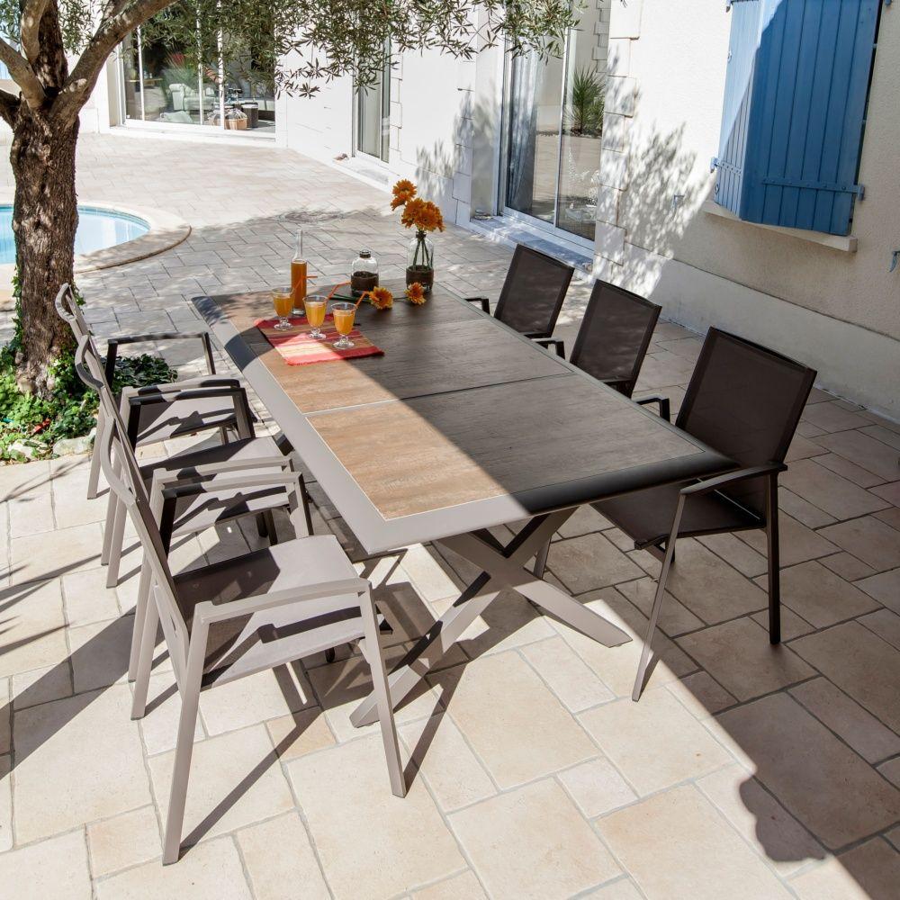 Table de jardin Ceram aluminium/plateau céramique café