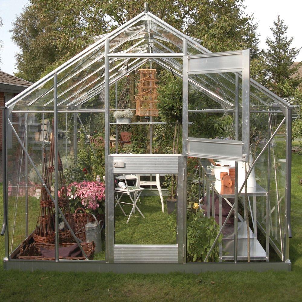 Serre en verre horticole Junior aluminium 9.90 m² + embase - Juliana