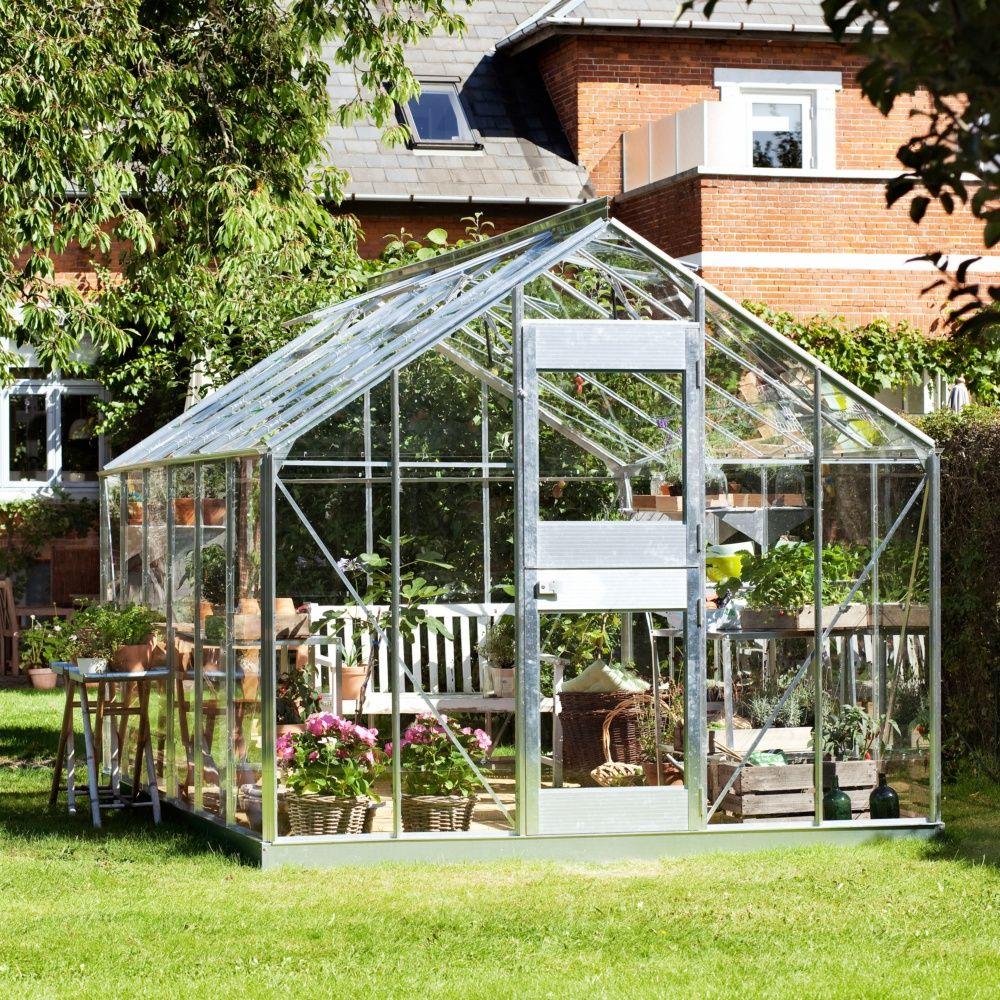 Serre verre horticole Junior 12.10 m² aluminium + embase - Juliana