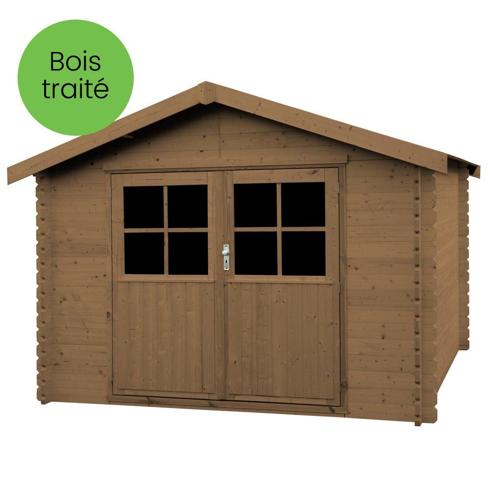 Abri de jardin bois traité autoclave Valodeal 9,92 m² Ep.34 mm