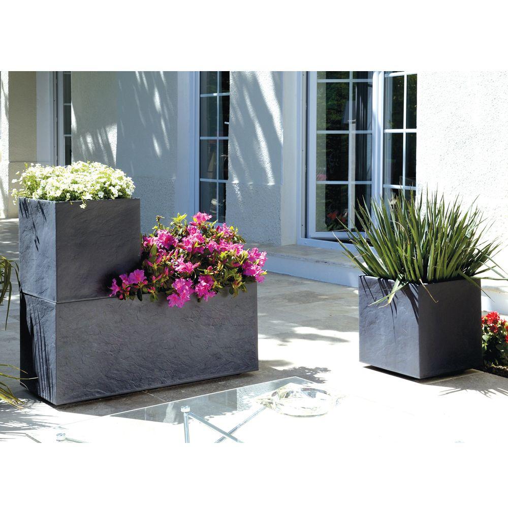 Jardini re volcania plastique l99 5 h43 98l gris anthracite h44 x l40 x l100 cm kg gamm vert - Grande jardiniere en plastique ...
