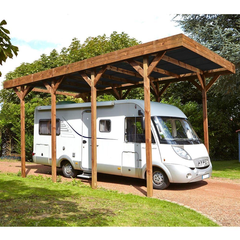 Carport Camping Car bois traité autoclave 32,40 m²