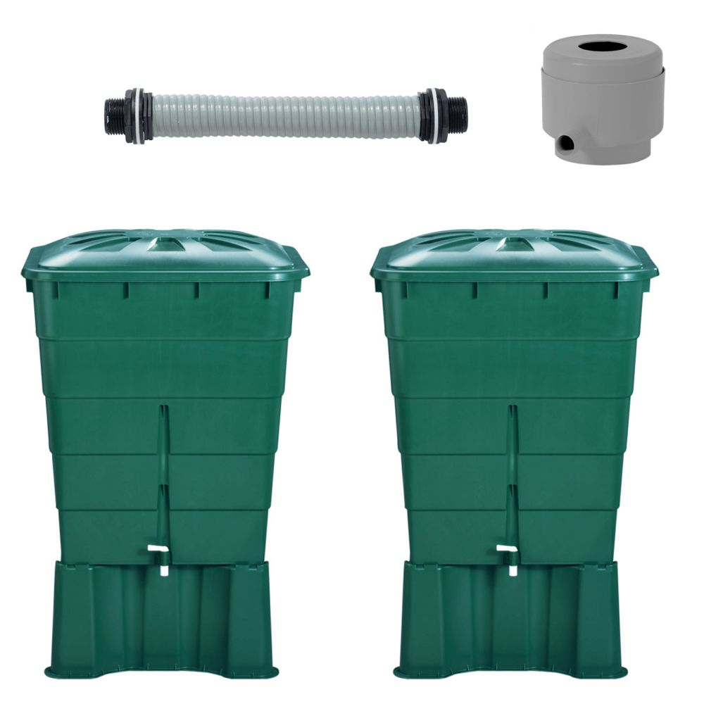 2 Récupérateurs d'eau rectangulaires 300L GARANTIA