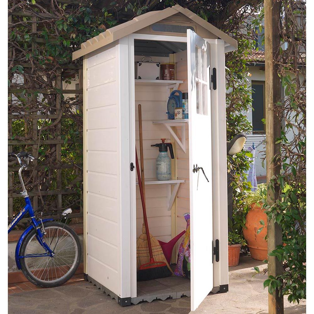 Petit abri de jardin résine PVC 0,93 m² Ep. 22 mm Evo 80 1 colis L ...