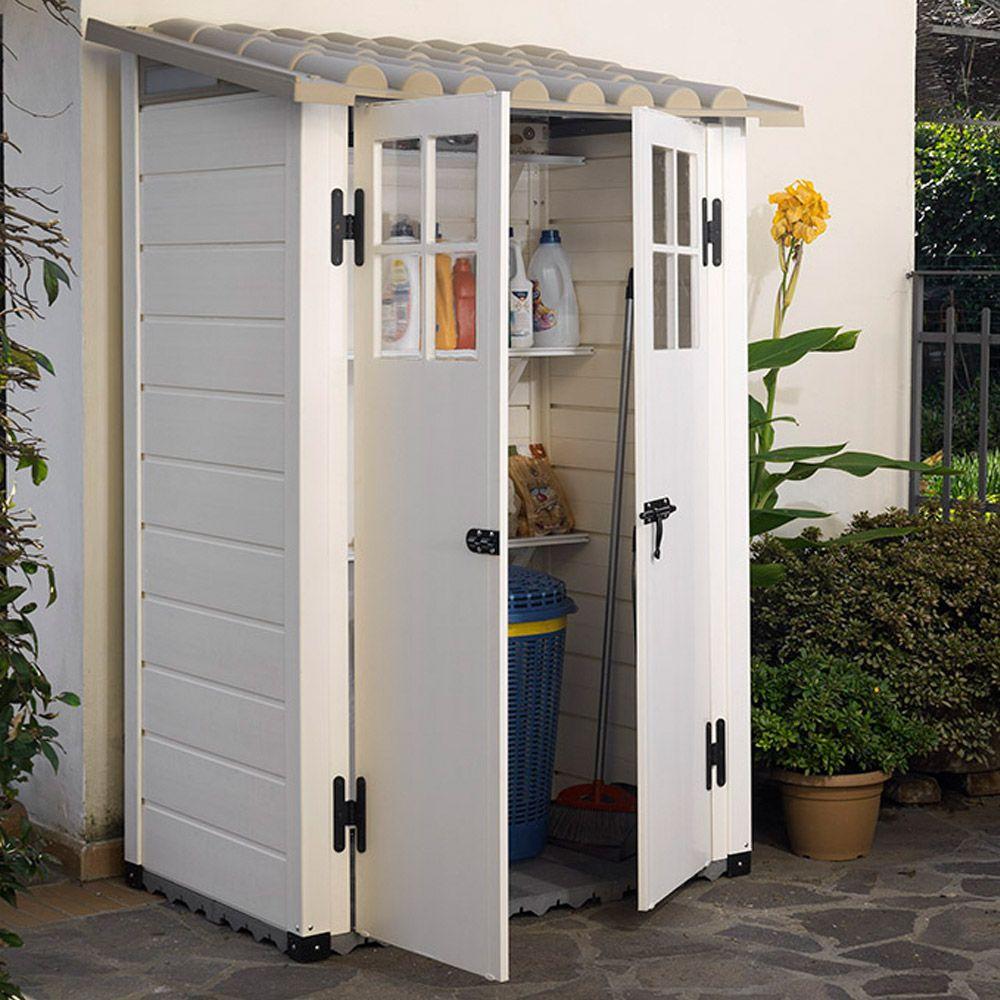Abri de jardin résine PVC 1,32 m² Ep. 22 mm Evo 100 1 colis L 112 x ...