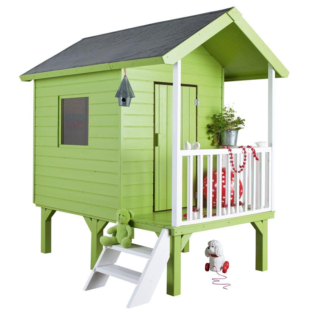 cabane enfant bois kangourou sur pilotis l167 x p181 x h200 cm 111 kg gamm vert