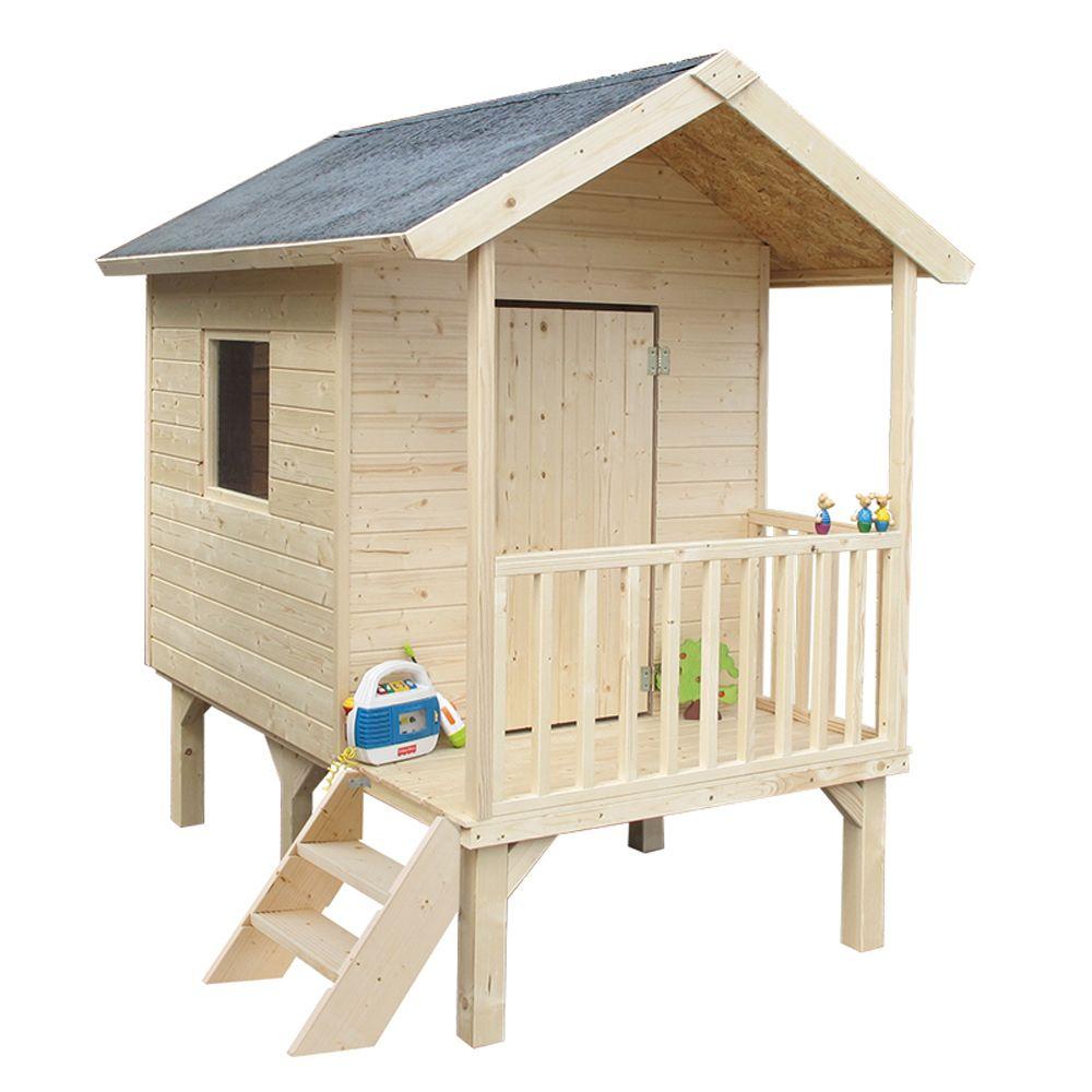 cabane enfant bois kangourou sur pilotis l167 x p181 x. Black Bedroom Furniture Sets. Home Design Ideas
