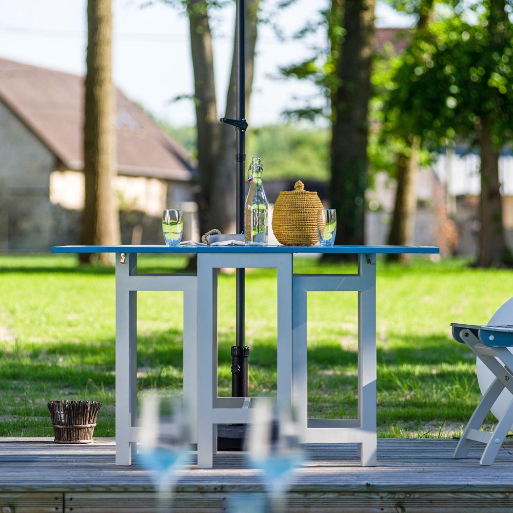 Table console pliante City Green Burano bois l37-135 L65 cm bleu