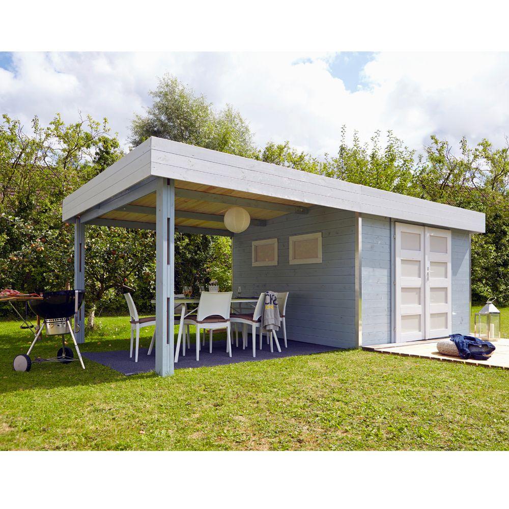 abri de jardin bois toit plat auvent m ep 28 mm. Black Bedroom Furniture Sets. Home Design Ideas