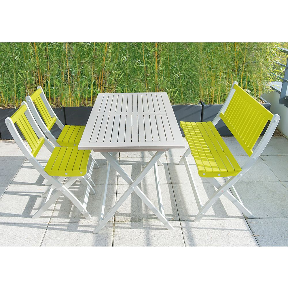 Salon de jardin Burano City Green : Table + 2 Chaises + 1 Banc ...