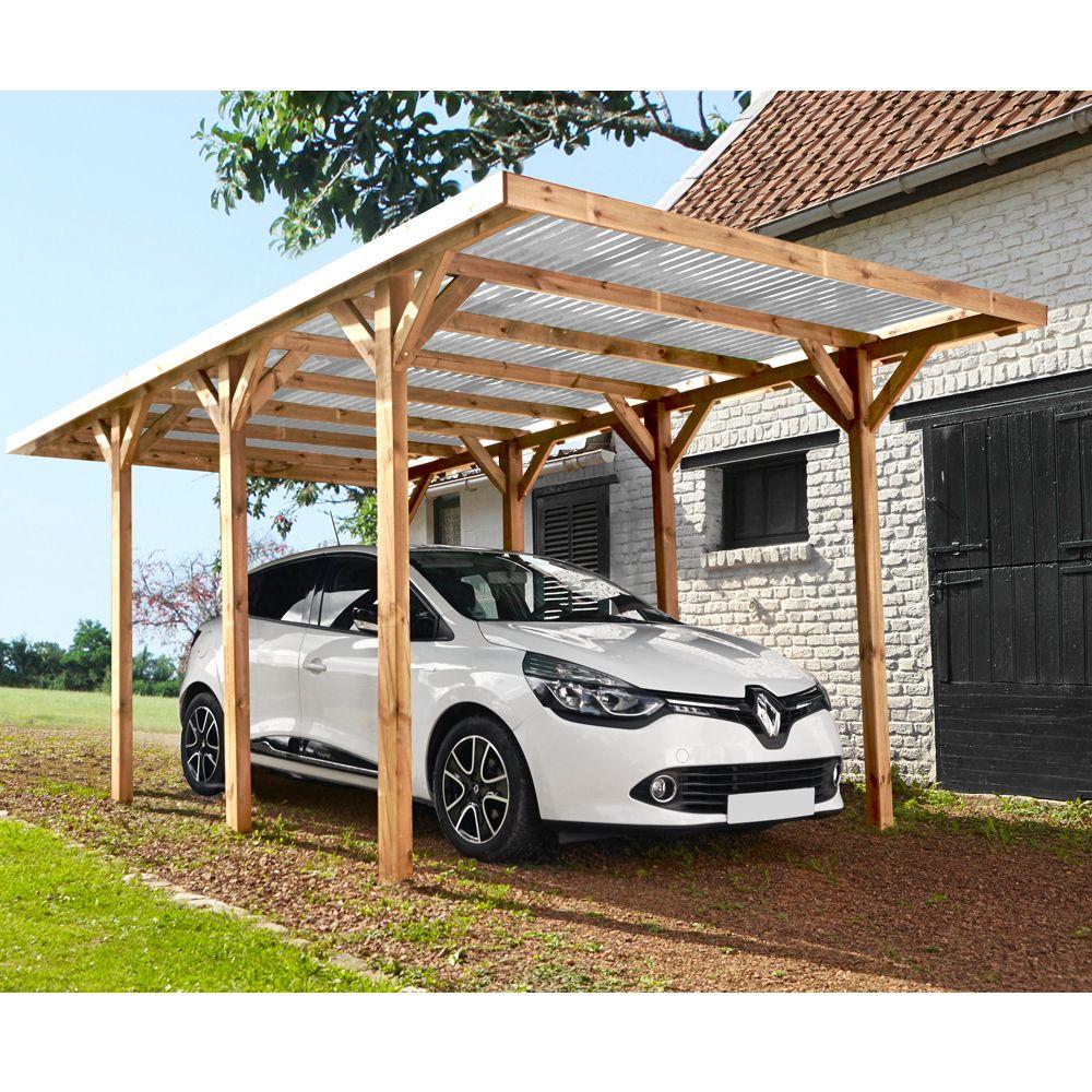 Carport bois traité autoclave Madeira Max : 1 voiture - 15,72 m²