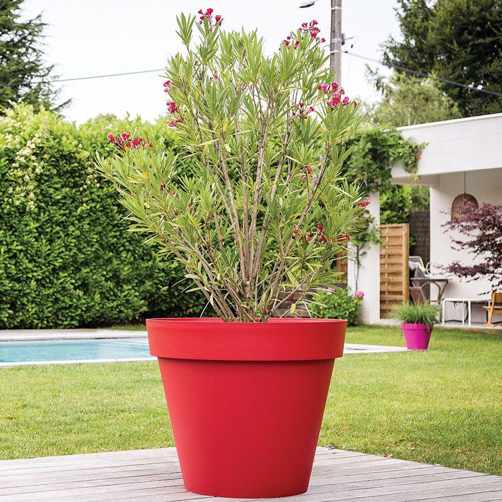 Gros Pot Fleur Plastique pot de fleur rond xl eda toscane plastique Ø100 h80 cm 356l rouge