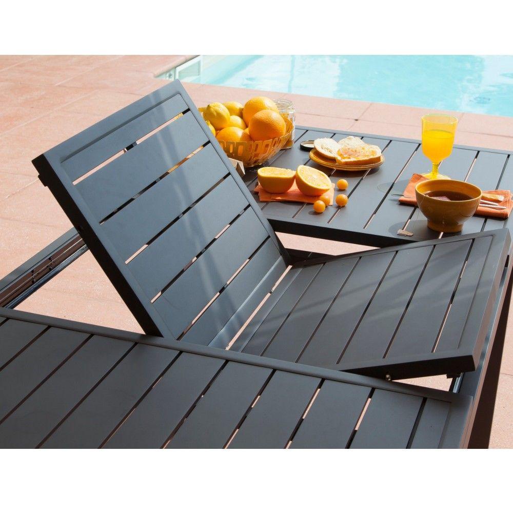 Table de jardin Trieste aluminium l200/280 L103 cm gris