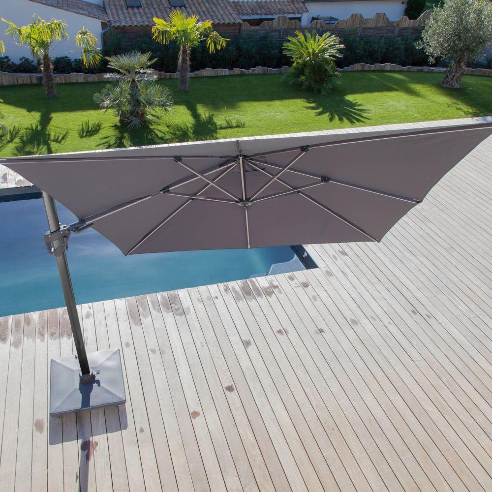 parasol d port inclinable aluminium 3x4 m gris gamm vert