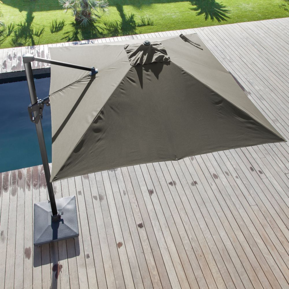 parasol d port inclinable aluminium 3x4 m taupe gamm vert