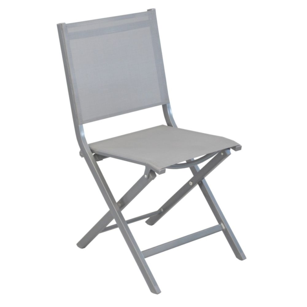 Chaise de jardin pliante aluminium/textilène argent
