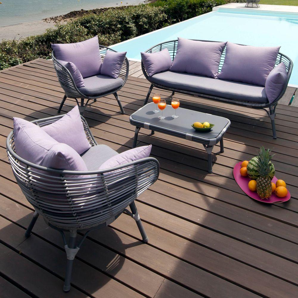 Salon de jardin Arguin aluminium/résine : table basse + 2 fauteuils + 1  canapé