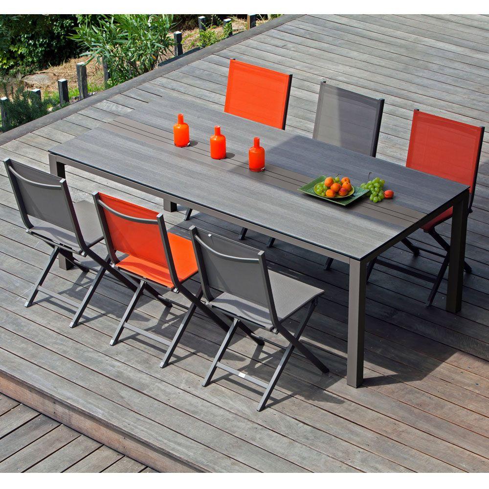 Table de jardin Galléo aluminium/HPL l210 L100 cm café 213 x 103 x ...