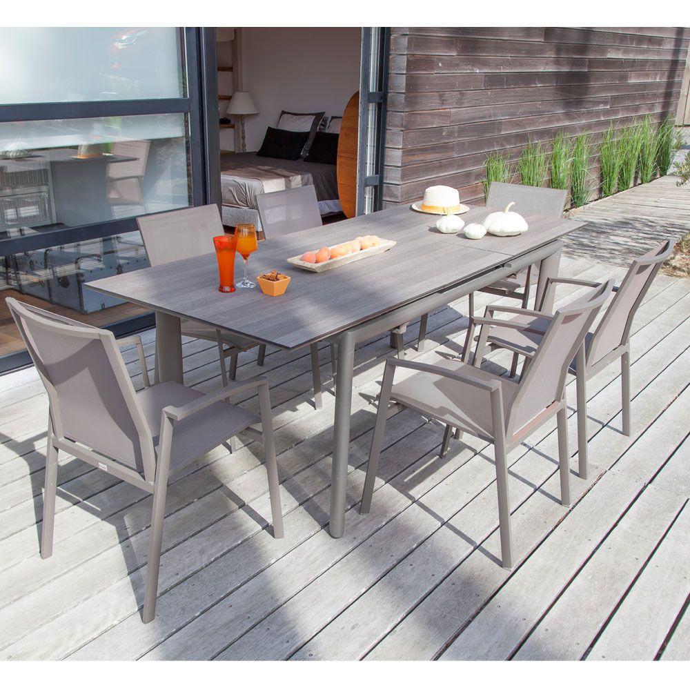 Table de jardin Miami aluminium/HPL l168/223 L90 cm café