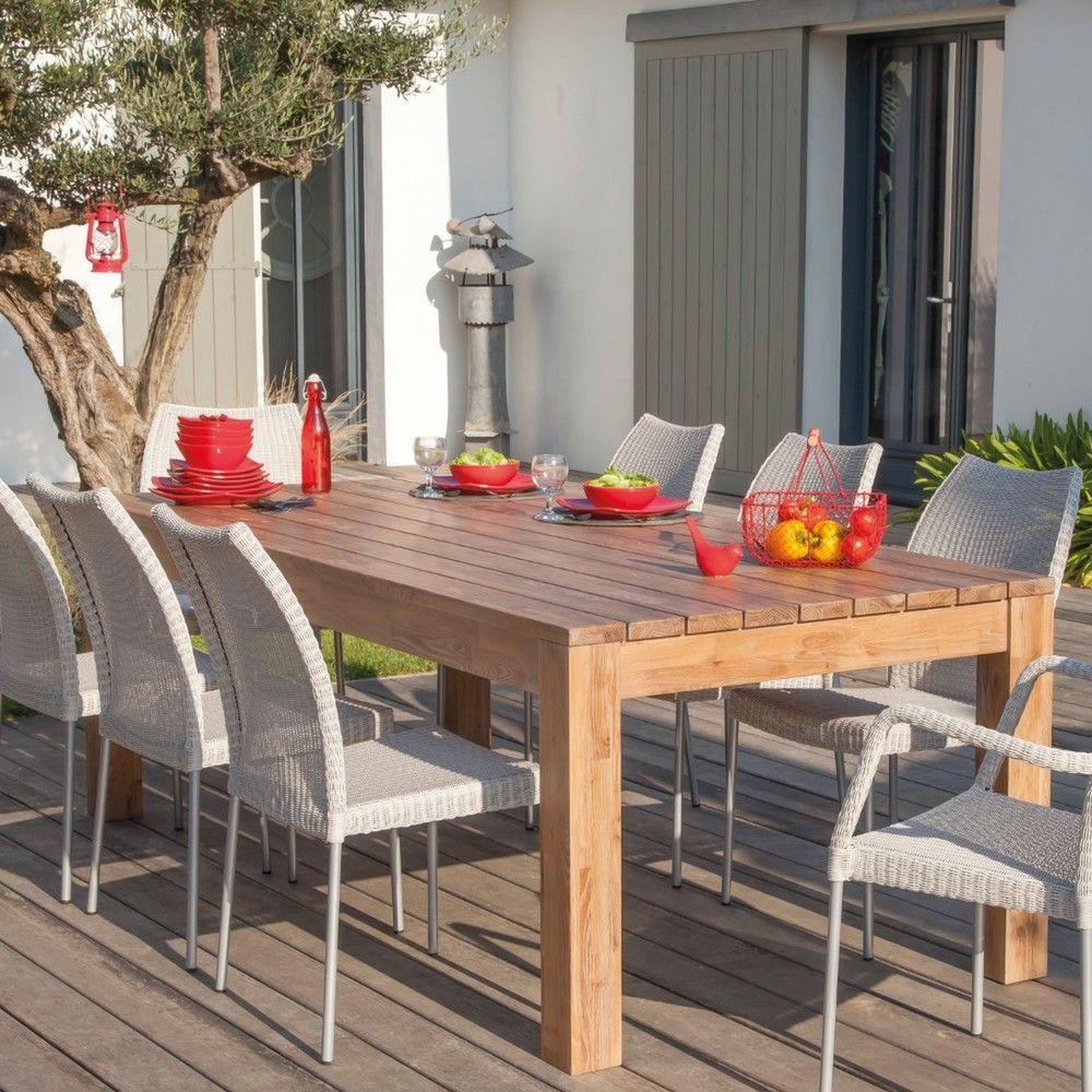 Table de jardin Kéa bois l200 L100 cm