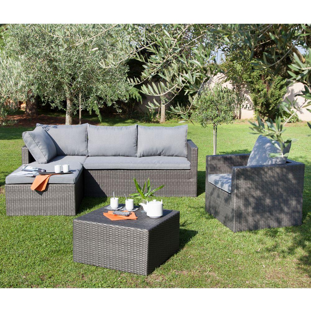 Salon de jardin bas Modéna : fauteuil + canapé méridienne + table ...