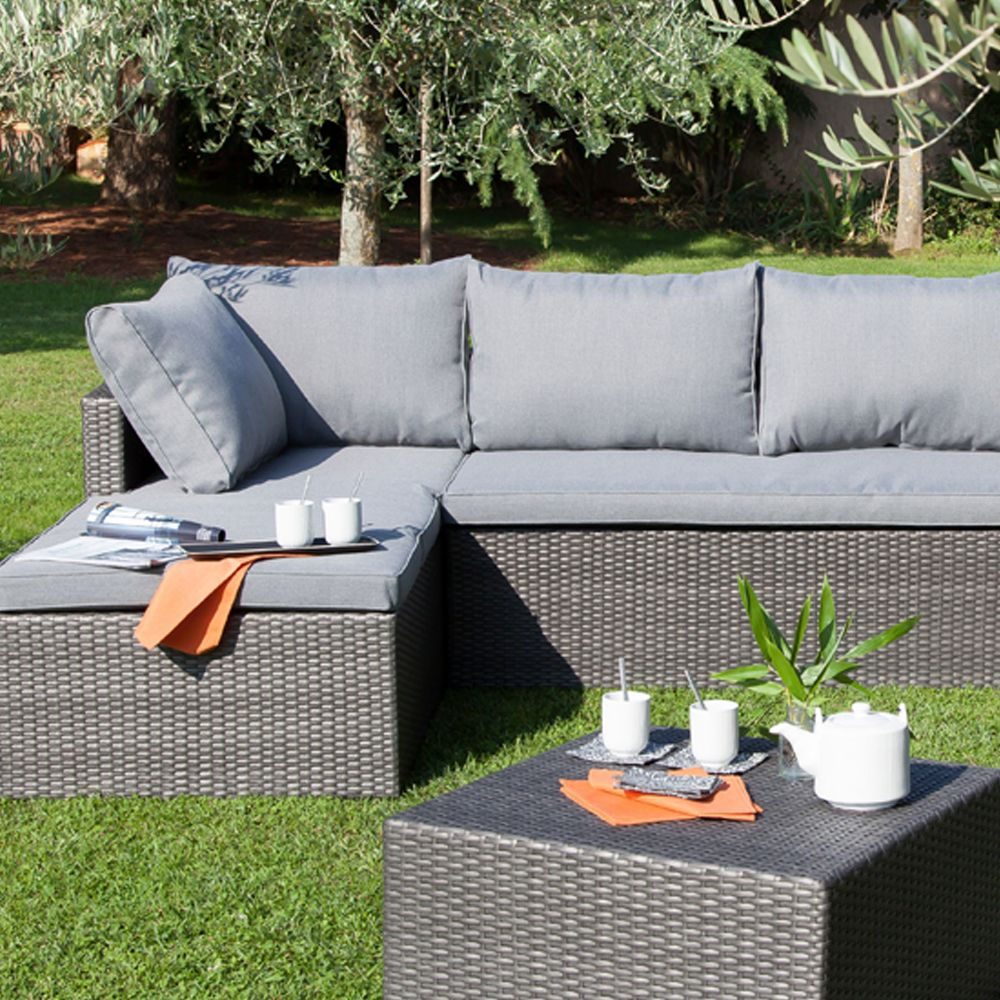 Salon de jardin bas Modéna : fauteuil + canapé méridienne + table basse