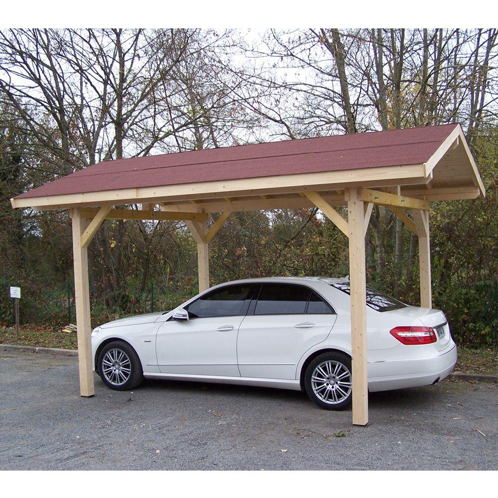 Carport bois avec toit double pente avec montage Habrita : 1 voiture - 17,50 m²