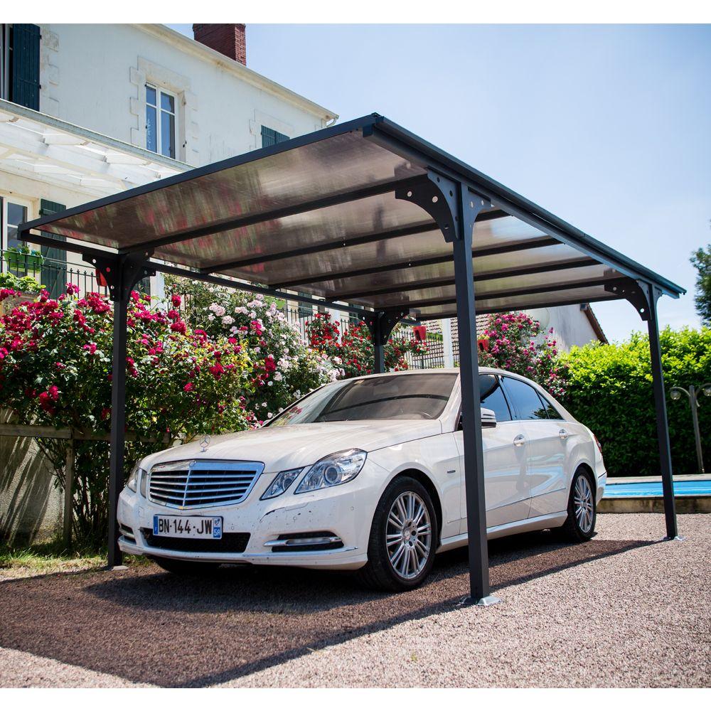 Carport aluminium toit polycarbonate : 1 voiture - 14,70 m²