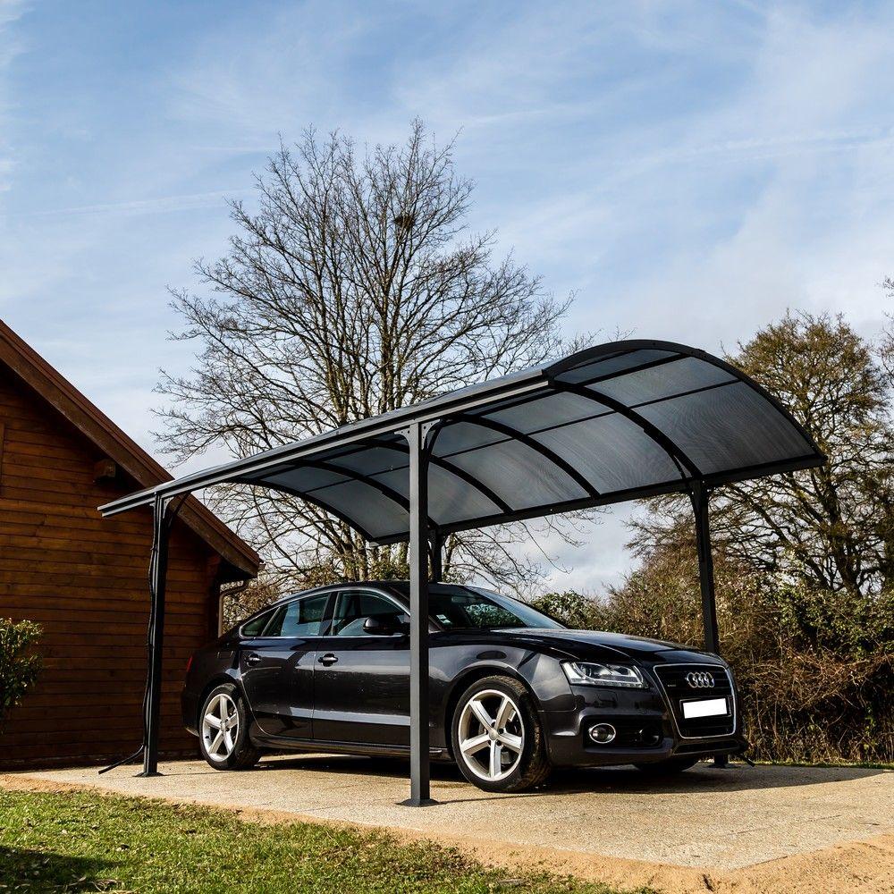 Carport aluminium toit polycarbonate Habrita : 1 voiture - 14,62 m²