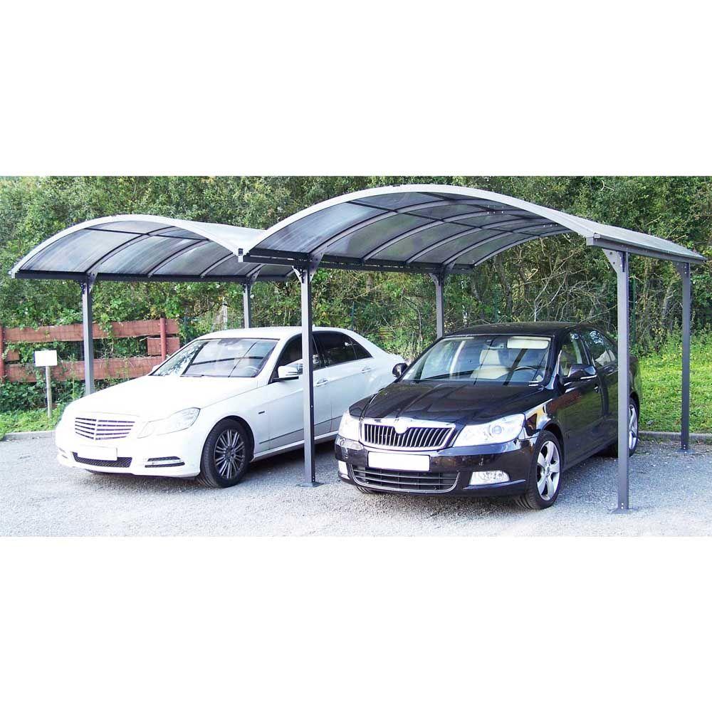 Carport double aluminium toit polycarbonate Habrita : 2 voitures - 28,62 m²