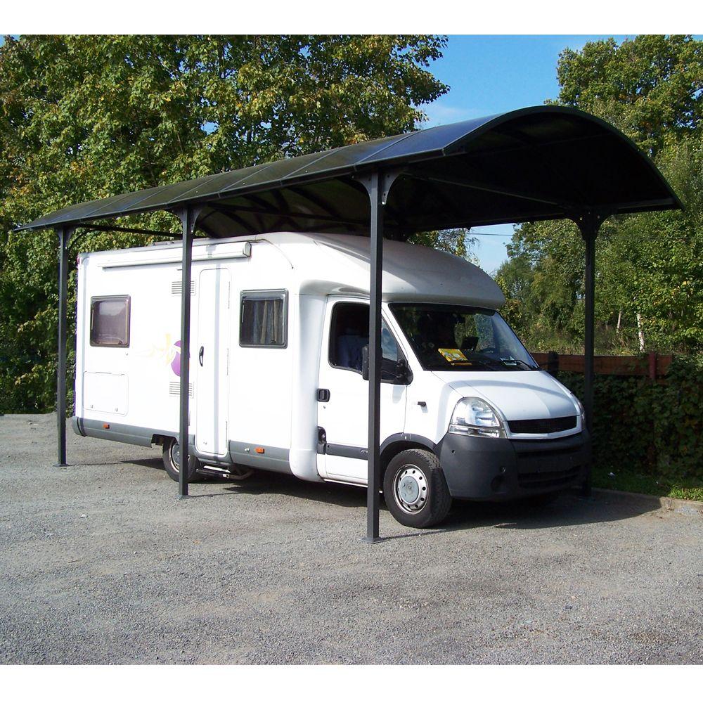 Carport grande hauteur aluminium toit polycarbonate Habrita : 1 camping car - 27,51 m²