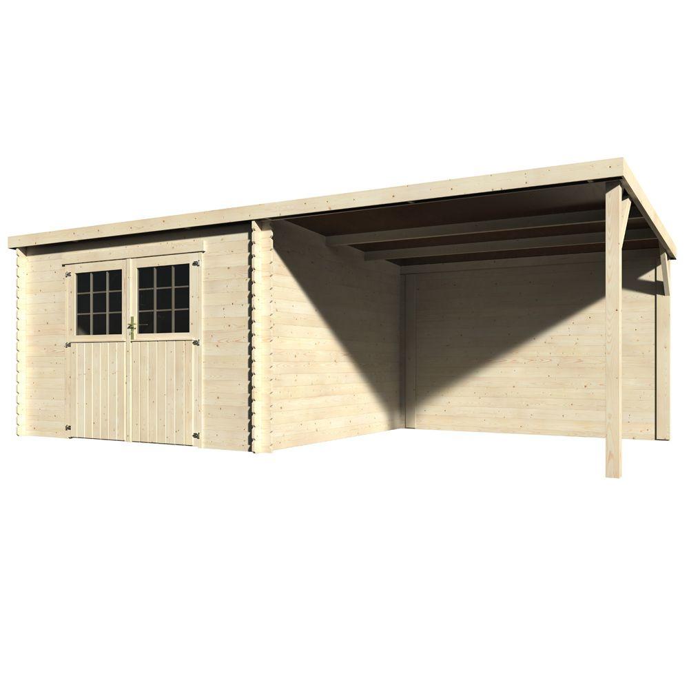 Abri de jardin bois toit plat + auvent 18,31 m² Ep. 28 mm Eden
