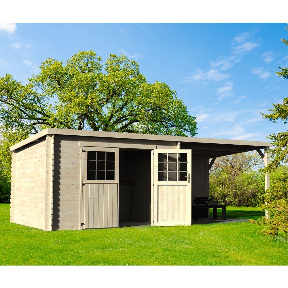 abri de jardin en bois monopente Abri de jardin bois toit plat + auvent 18,31 m² Ep. 28 mm ...