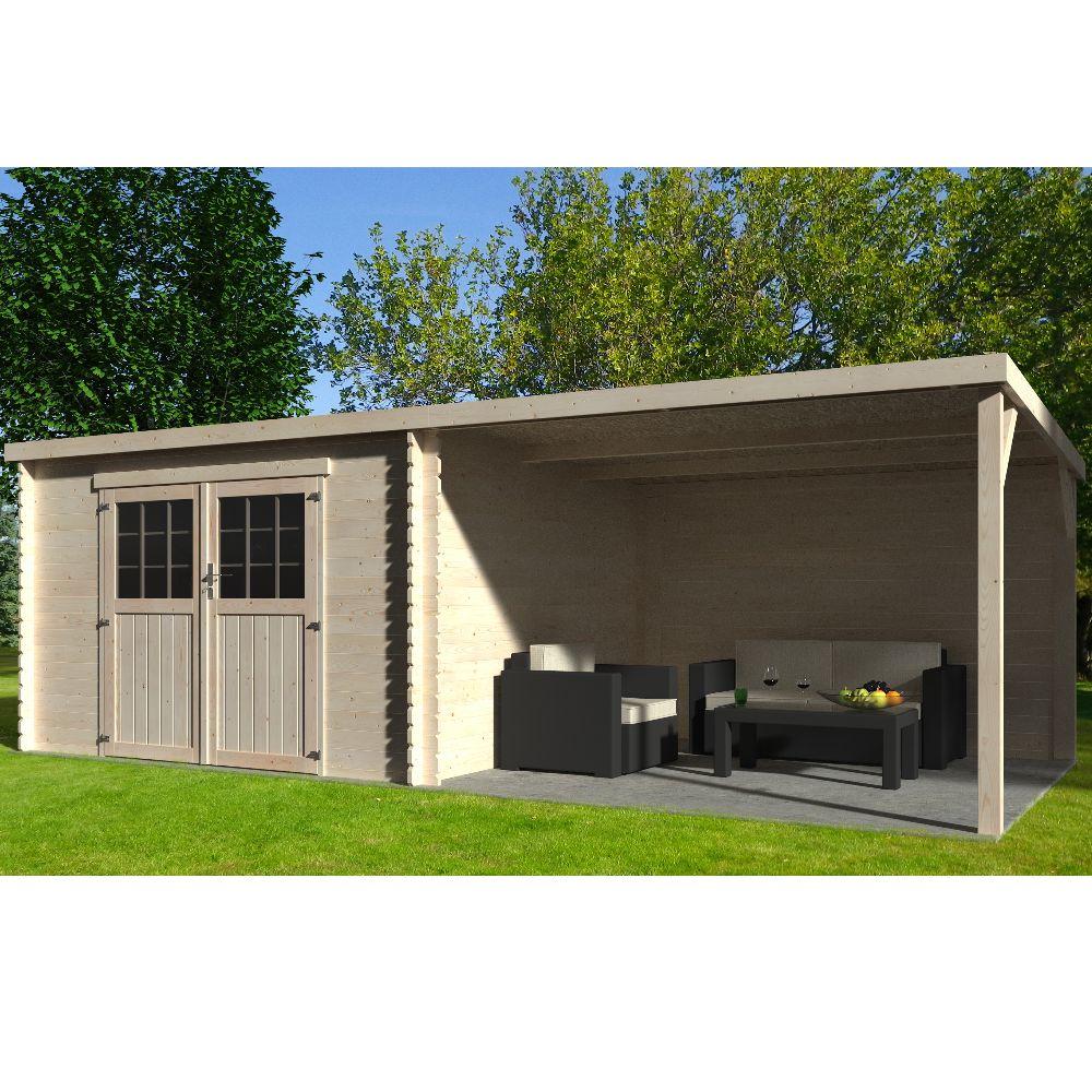 Abri de jardin bois toit plat + auvent Eden 18,31 m² Ep. 28 mm