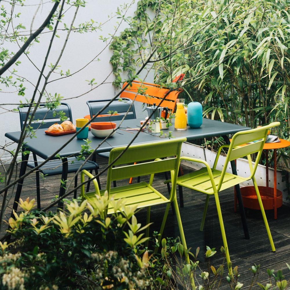 Salon de jardin Fermob Monceau : 4/6 pers. carbone/verveine