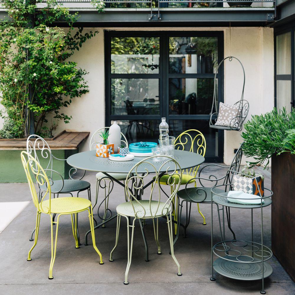 Salon de jardin Fermob Montmartre : 6 pers. romarin/verveine/tilleul