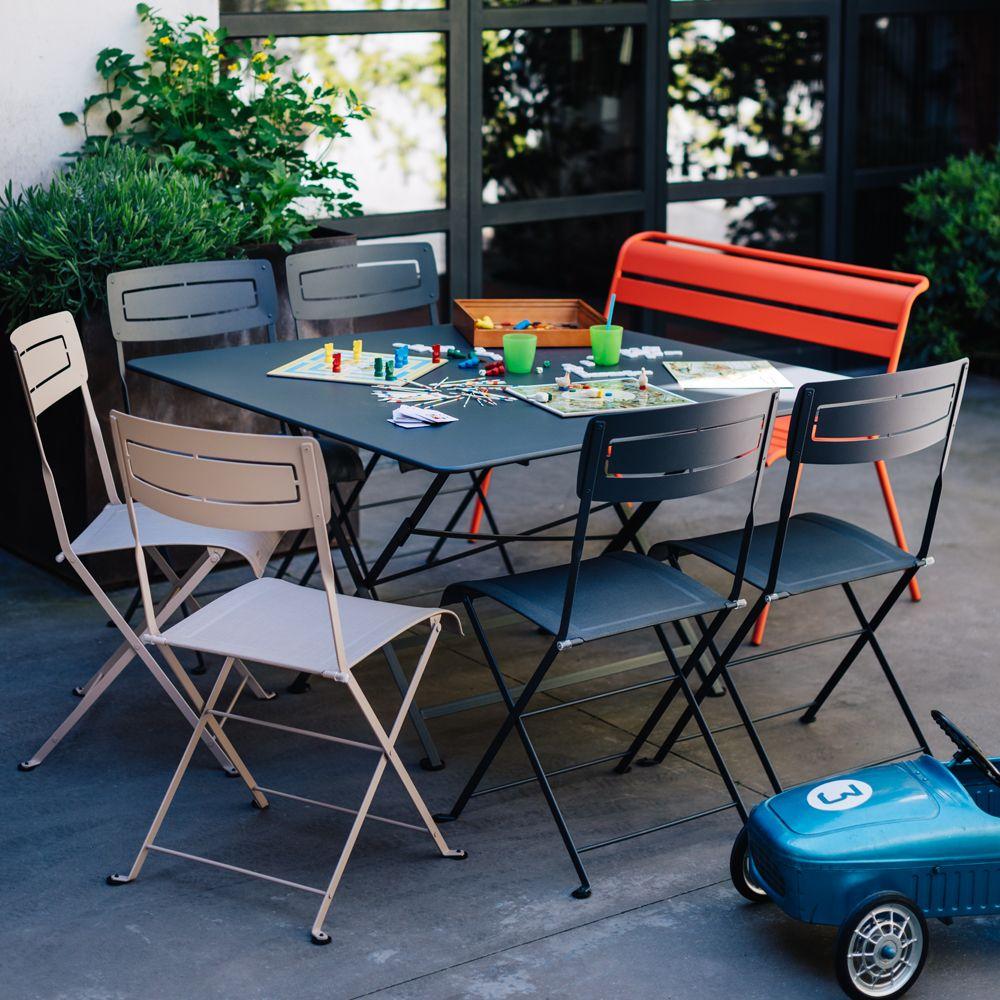 Salon de jardin Fermob Cargo : 8 pers. carbone/muscade/capucine ...