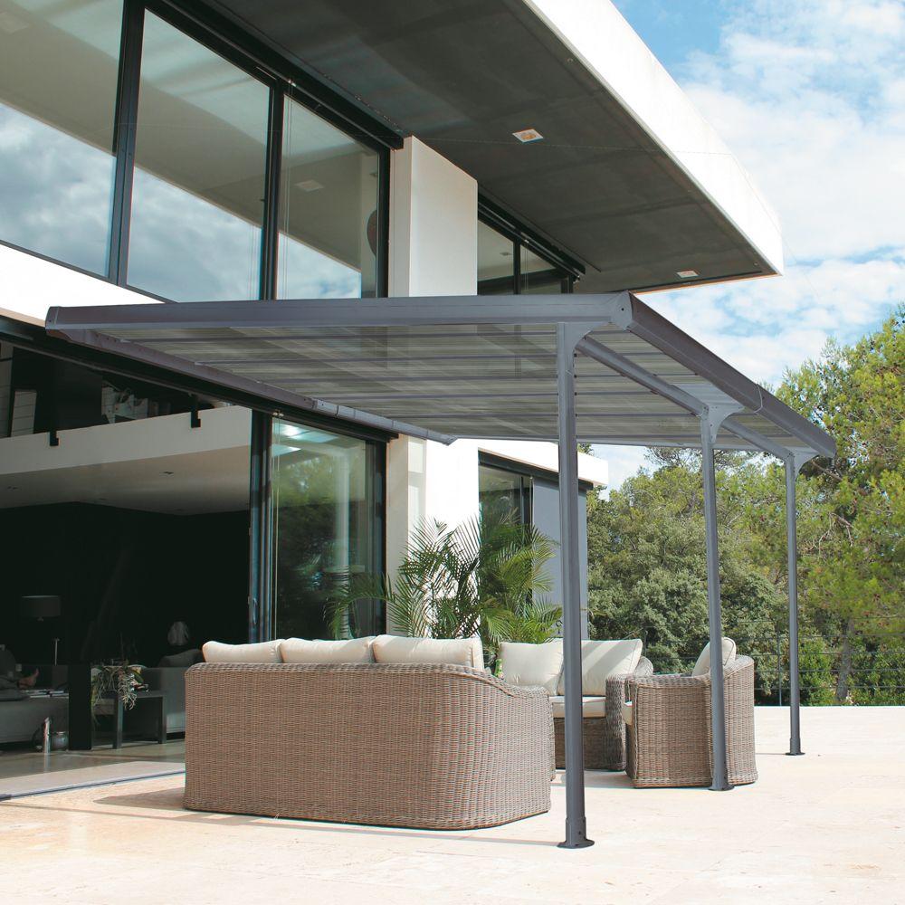 tonnelle adoss e aluminium 3 5x4 m toit polycarbonate. Black Bedroom Furniture Sets. Home Design Ideas