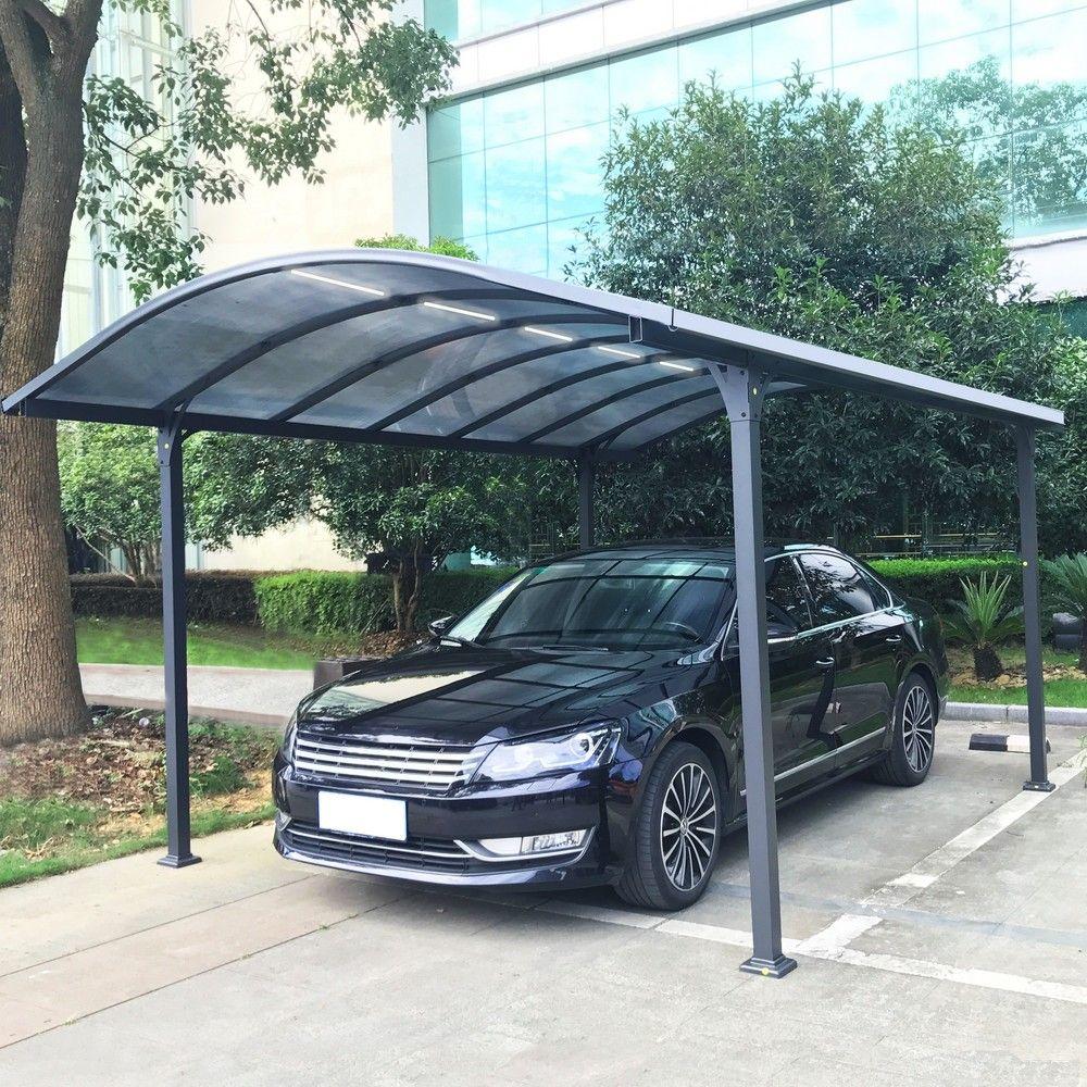 Carport aluminium avec éclairage autonome 18 m²