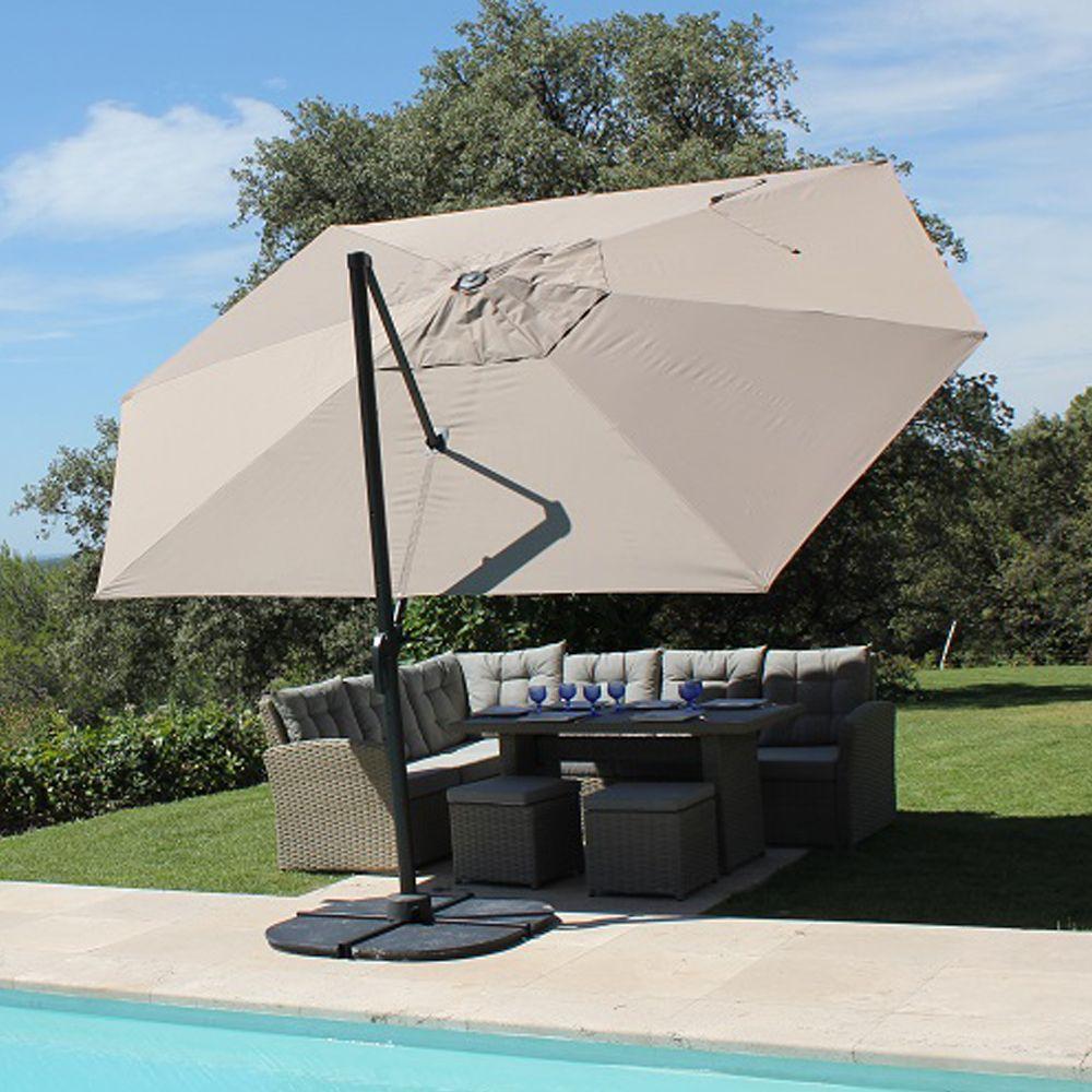 Parasol décentré aluminium 4,2x3 m Marco gris
