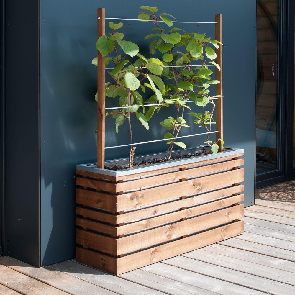 Fabriquer Treillis Bois Pour Plantes Grimpantes bac à fleurs avec treillis bois traité autoclave l100 h130 cm lignz