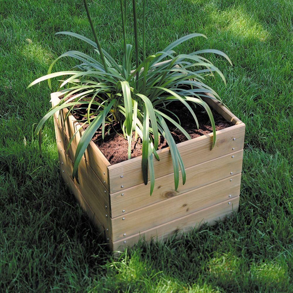 Bac à fleurs bois traité autoclave L40 H39,5 cm Essencia