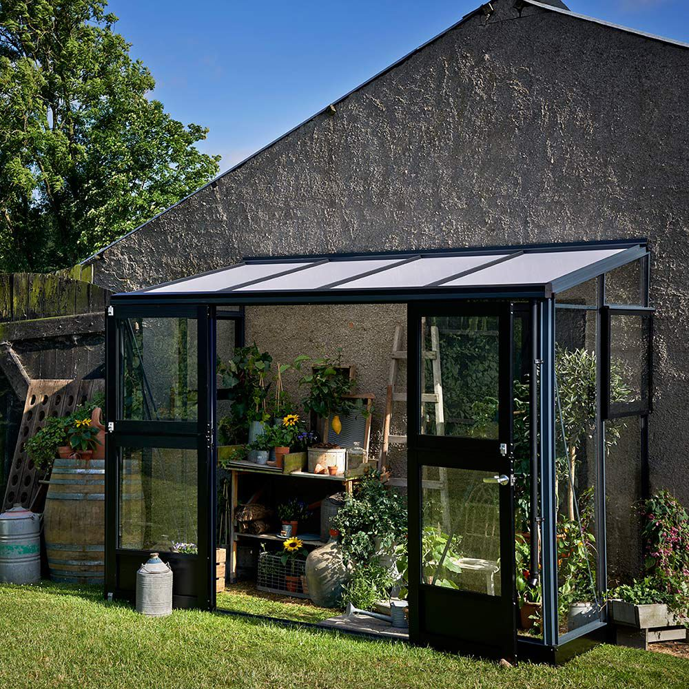 Serre de jardin - Serre adossée en verre trempé Veranda anthracite 4.4 m² + embase - Juliana - Serre de jardin GammVert