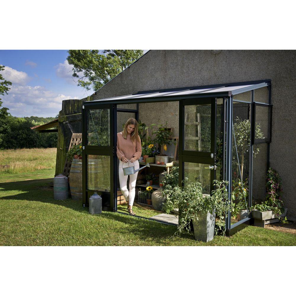 Serre adossée en verre trempé Veranda anthracite 4.4 m² + embase - Juliana