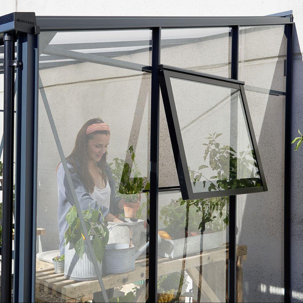 Serre adossée en verre trempé Veranda anthracite 6.6 m² - Juliana Livraison sur palette sauf ...