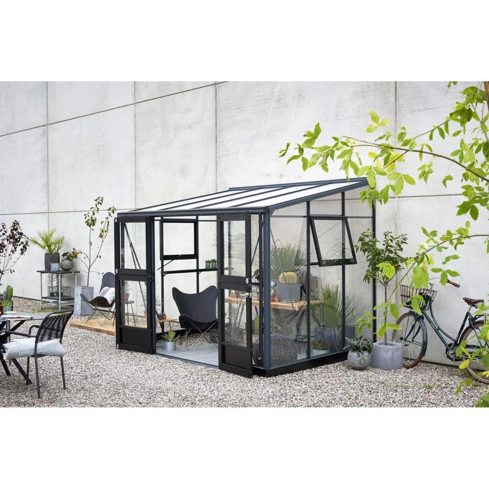 Serre adossée en verre trempé Veranda anthracite 6.6 m² - Juliana