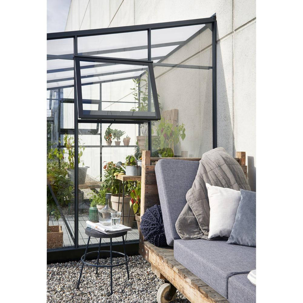 Serre de jardin adossée Veranda 6.6 m² - Anthracite - Juliana Livraison sur palette sauf ...