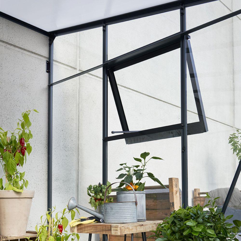 Serre de jardin adossée Veranda 12.9 m² - Anthracite - Juliana Livraison sur palette sauf ...